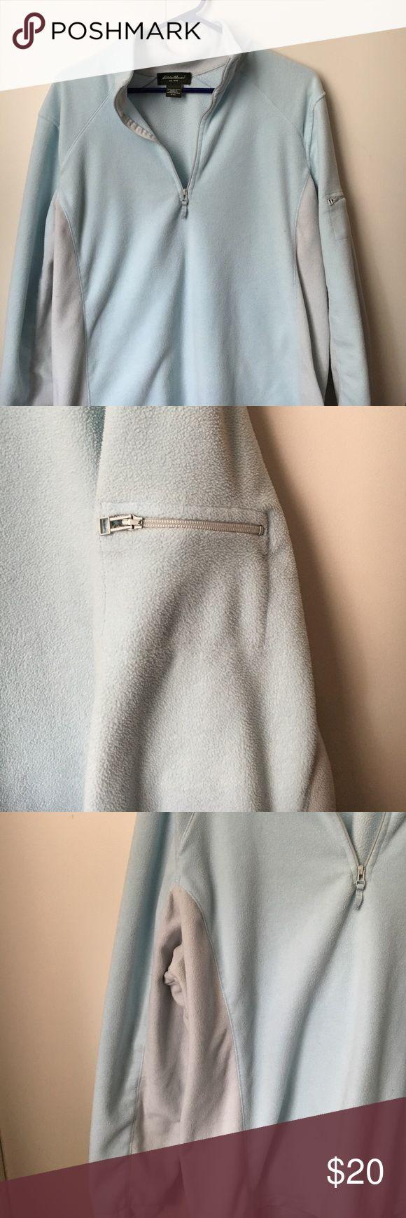 Eddie Bauer fleece pullover XXL Baby blue and light gray XXL Eddie Bauer fleece 1/4 zip pullover. EUC.  Has zippered pocket on sleeve Eddie Bauer Tops Sweatshirts & Hoodies