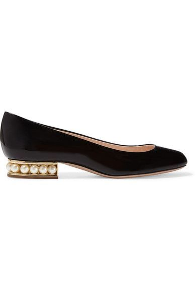 Heel measures approximately 15mm/ 0.5 inches Black patent-leather Slip on Made in Italy Large to size. See Size & Fit notes.