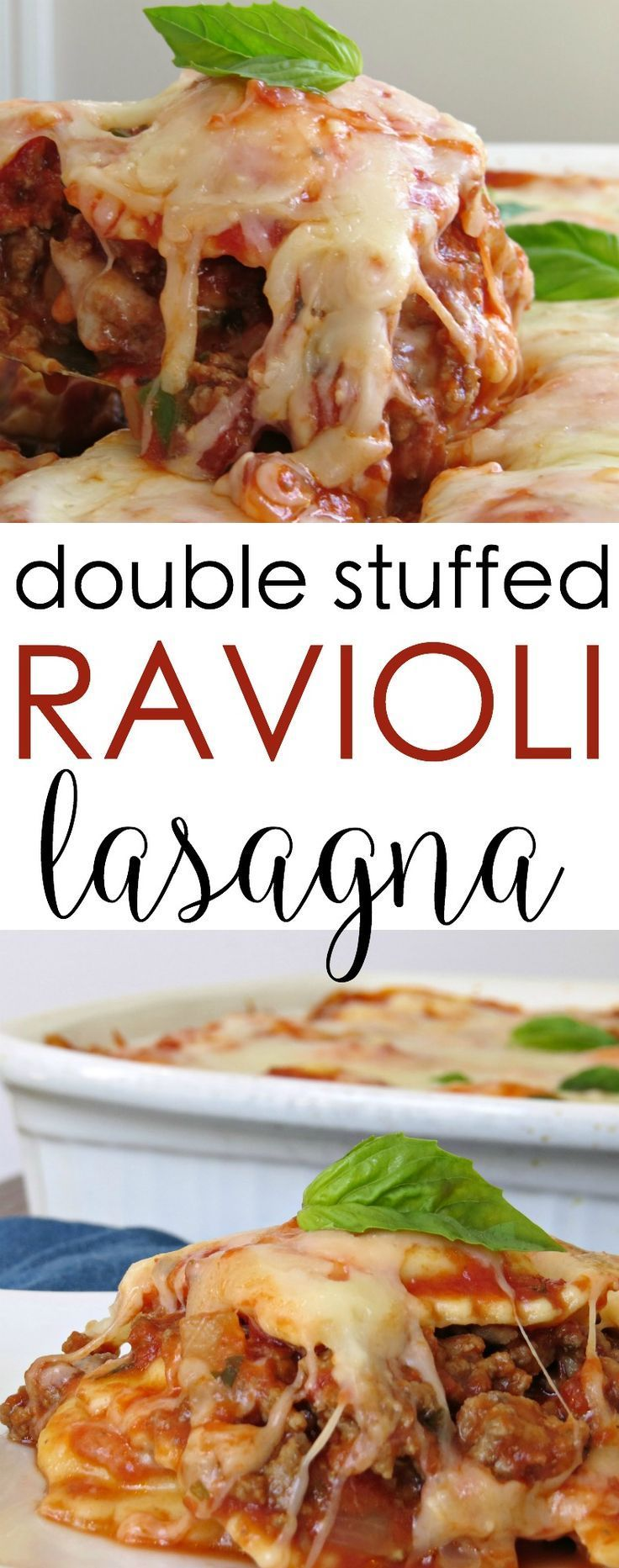 Easy casseroles: This is the most delicious stuffed ravioli lasagna. Its layered with frozen ravioli, a hearty amount of ground beef and peppers, and covered in cheese.