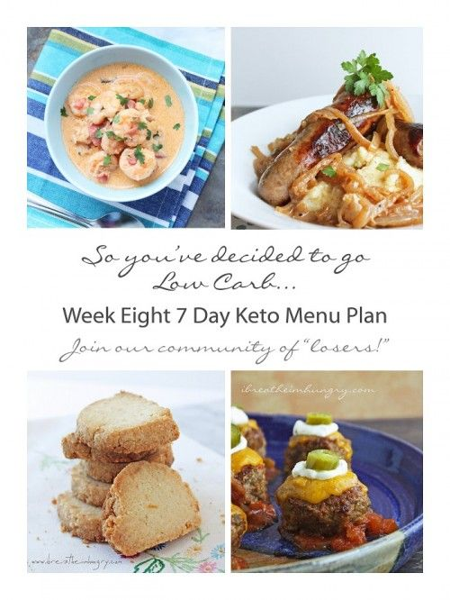Week Eight Free 7 Day Keto, Atkins, and Low Carb Diet Menu Plan, shopping and prep list from ibreatheimhungry.com