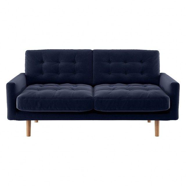 Fenner Navy Blue Velvet 2 Seater Sofa 2 Seater Sofa Seater Sofa Blue Velvet Sofa