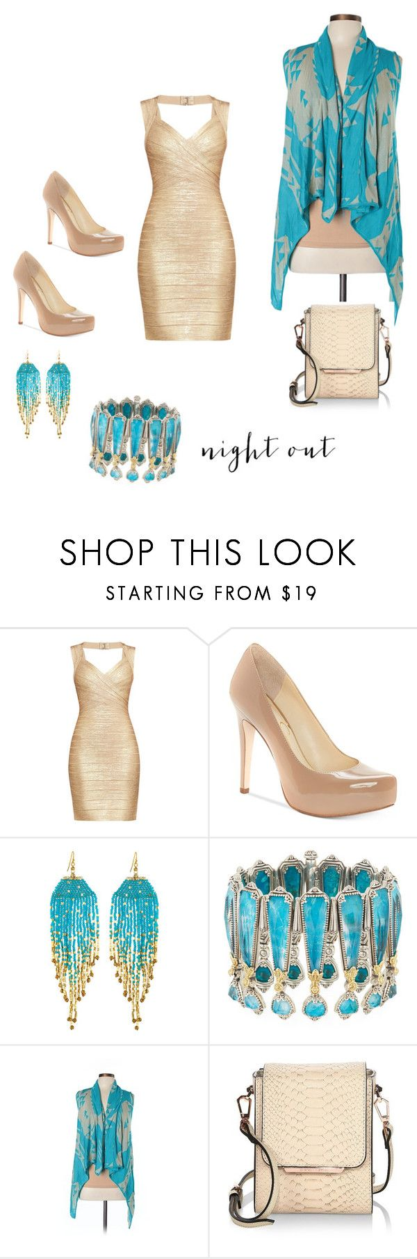 """night out"" by spoiledcrybaby420 ❤ liked on Polyvore featuring Hervé Léger, Jessica Simpson, NAKAMOL, Konstantino, Say What? and Kendall + Kylie"