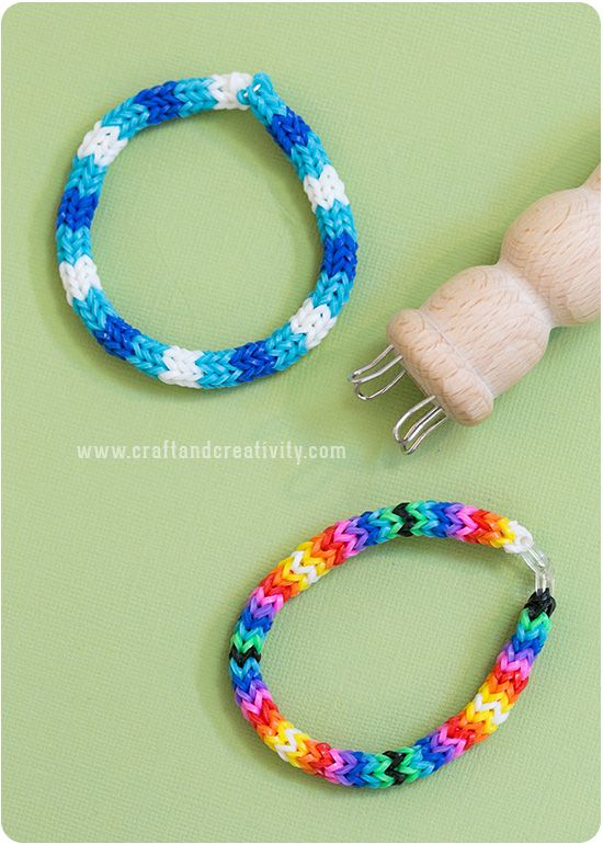 Påtade gummibandsarmband -Rubber band spool knitting - Craft & Creativity