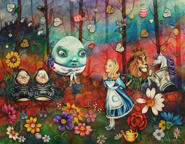 """""""A Happy Un-Birthday to you"""" New release by Kerry Darlington to complete her Alice in Wonderland Collection.  Based on the book 'Alice Through the Looking Glass', where Alice finds herself in a Summer Garden, this piece depicts some of the characters that Alice meets, Tweedle-Dee and Tweedle-Dum, talking flowers, Humpty Dumpty, the Rocking-Horse fly and the Lion and the Unicorn fighting for the crown."""