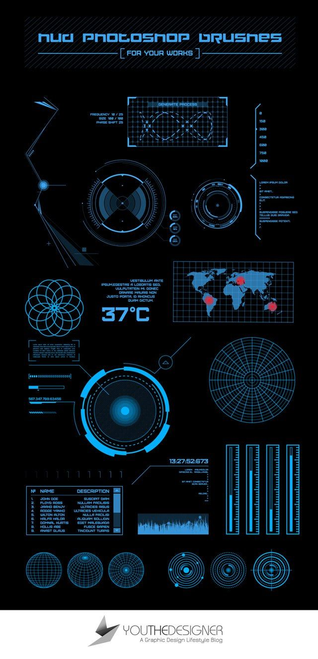 The pack contains 23 high quality HUD Photoshop brushes that are perfect for your next futuristic design project.