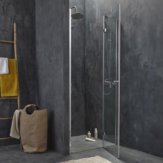 Porte de douche pivotante Open 2 verre transparent chrom� 90 cm LEROY MERLIN à 199 euros ref 69523671
