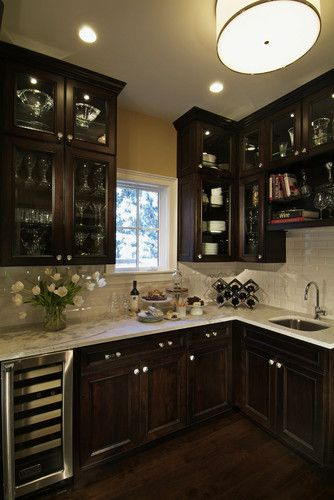 Traditional Dark Wood Kitchen Design W/Glass Cabinetry