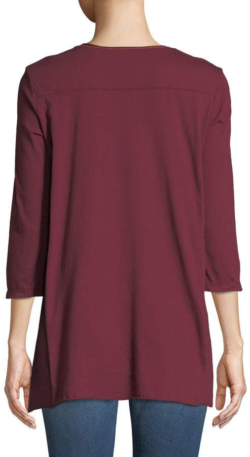 6d351ade341 Johnny Was Ellim 3/4-Sleeve Embroidered Drape Knit Top #Sleeve#Ellim#Johnny