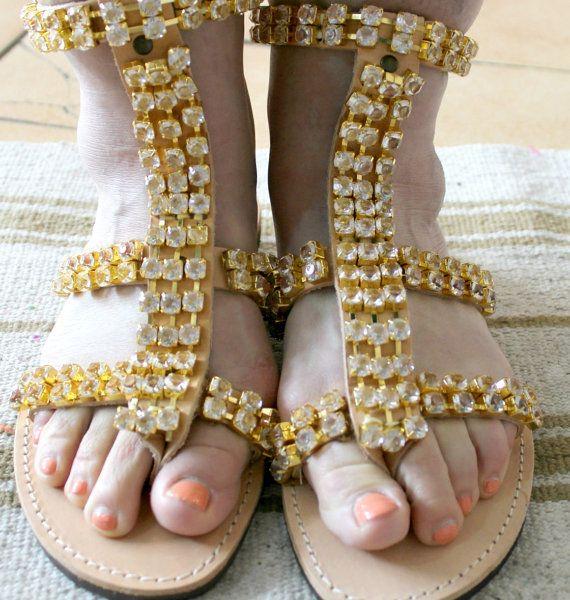 Swarovski sandals  /greek sandals/Bridal sandals by JustBoho