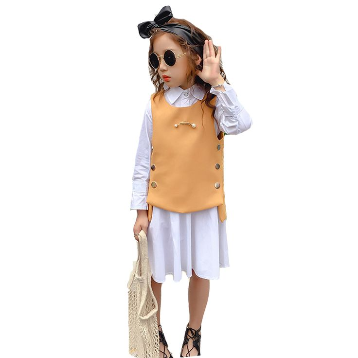 ==> [Free Shipping] Buy Best Girls Clothing Sets Cotton Sleeveless Waistcoats For Girls Shirts Dress 2Pcs Long Sleeve Children Vests Students School Uniforms Online with LOWEST Price | 32821958261