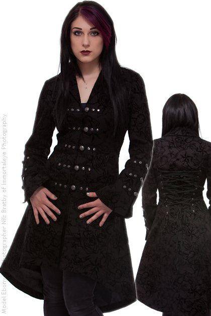 Black Flocked Gothic Coat with Corset Lacing