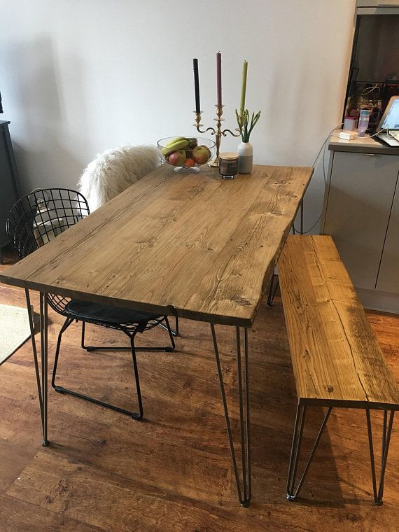 Reclaimed Dining Table. Hairpin Dining Table. Rustic industrial scaffold board salvage plank solid wood warehouse furniture