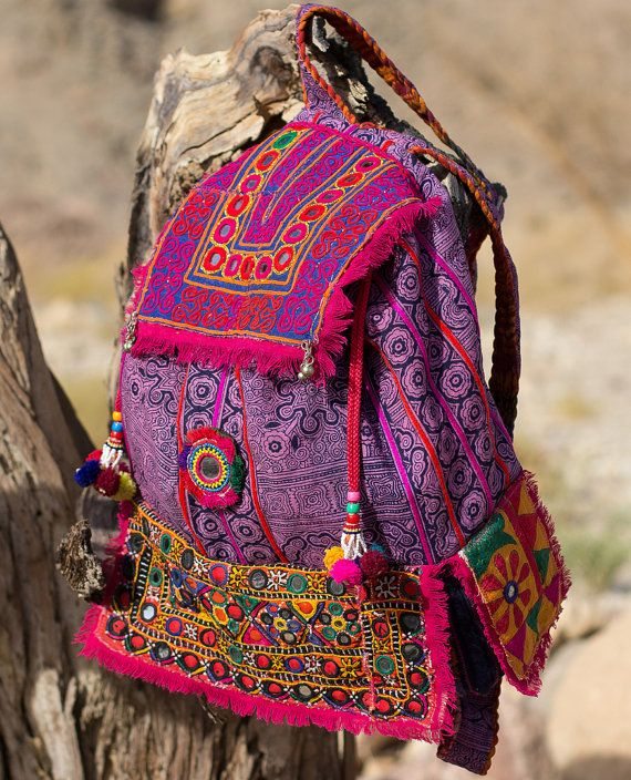 CHAKRA Back Pack BAckPack Hmong Batik banjara Embroidery Mirror Work Tribal Boho Hippie Festival Bag  with Pockets and Tassels