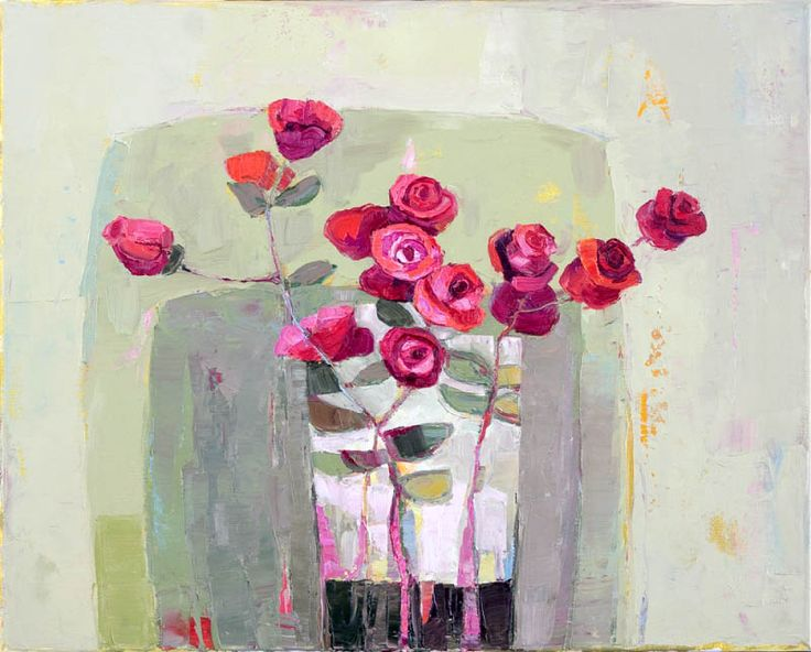 Kirsty Wither | In Flower - Such a beautiful color palette in this painting, that draws your attention to the flowers.