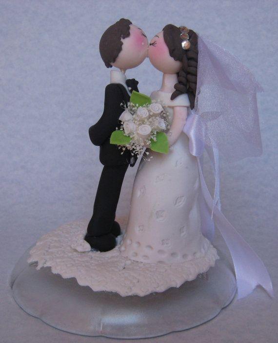 Wedding cake topper, topper torta nuziale romantica, sposo sposa bacio