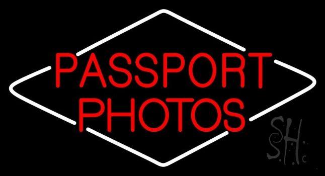 Red Passport Photos Neon Sign