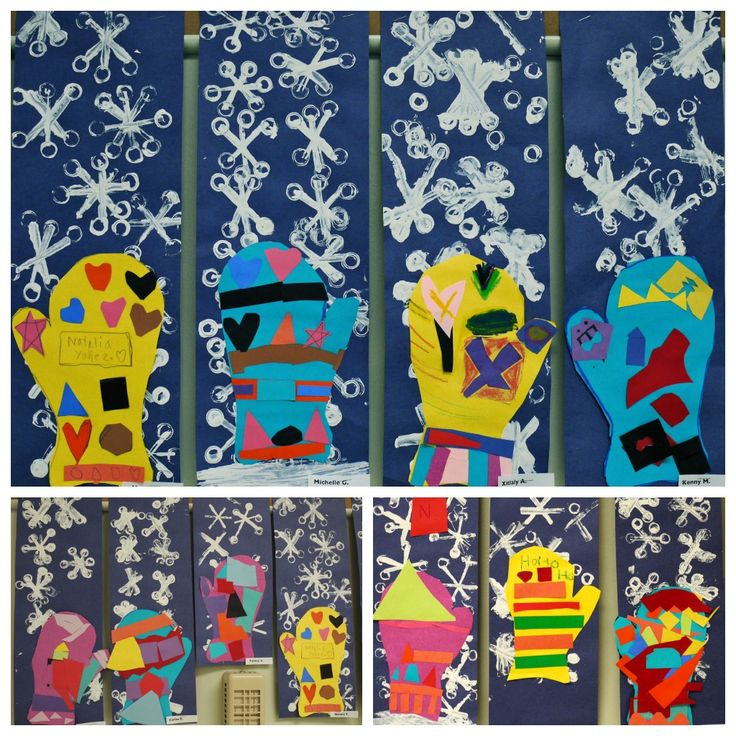 pattern mittens with printed snowflakes. from the colors of my day blog.