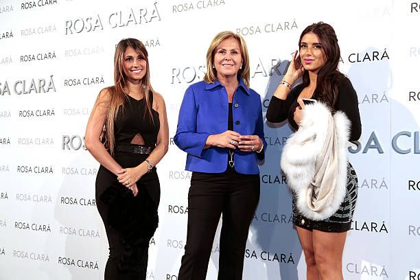 Antonella Rocuzzo Rosa Clara and Daniela Semaan pose during a photocall for Rosa Clara's bridal fashion show during 'Barcelona Bridal Fashion Week...