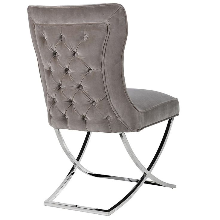 Mouse grey Dining chair on chrome frame, rear view showing beautiful buttoned back with piping detail.