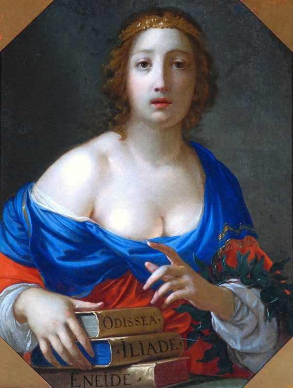 The Muse Calliope. Ceasare Dandini (Italian, 1595-1658). Oil on canvas. The Bowes Museum.  Half length figure of Calliope, one of the nine muses, daughter of Jupiter and Mnemosyne. She is wearing a rich décolleté dress of red and blue, and carries a laurel crown over her left forearm. Her right hand rests lightly on Homer's 'Odyssey' and 'Iliad' and Virgil's 'Aeneid'.    Source:  http://books0977.tumblr.com/page/2