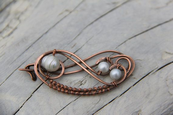 Copper and fresh water pearls wire wrap shawl pin by Keepandcherish