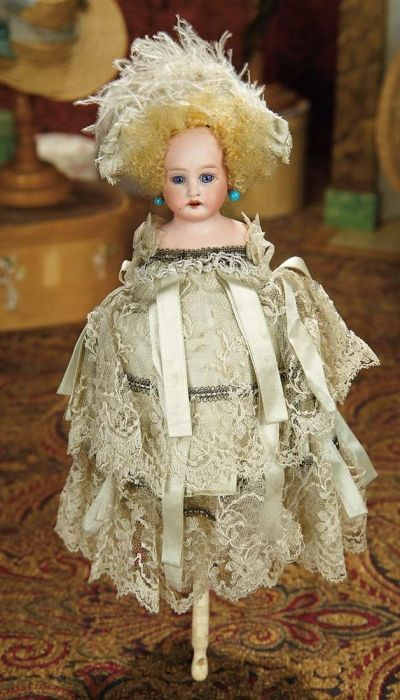 The Memory of All That - Marquis Antique Doll Auction: 48 All-Original Luxury French Party Musical Marotte with Bisque Doll Head