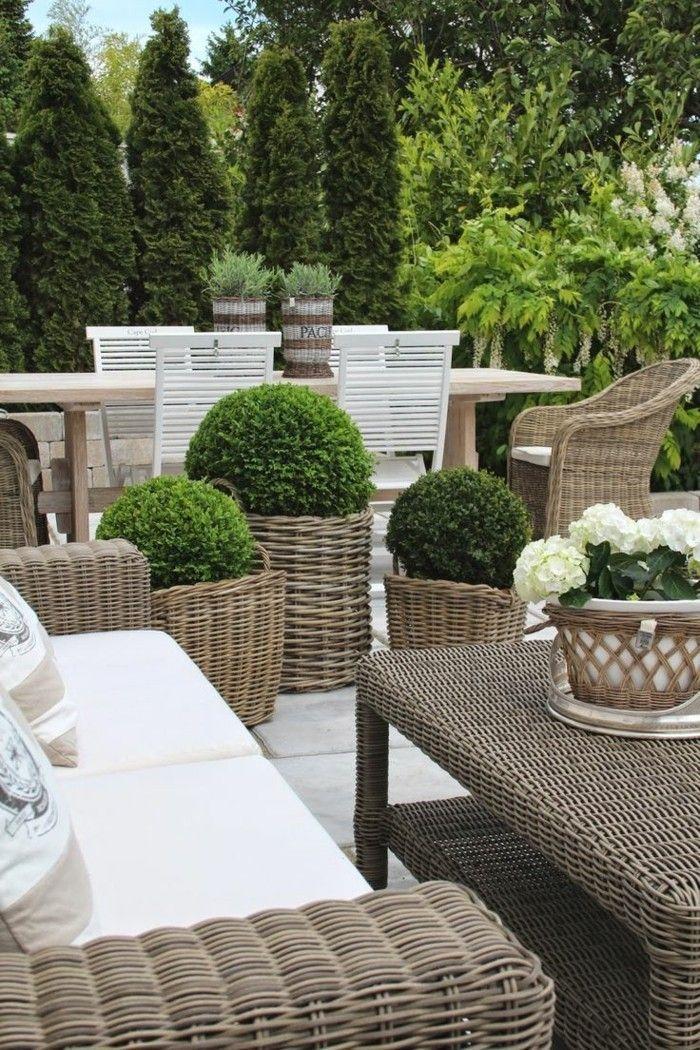 Die besten 25+ Outdoor korbmöbel Ideen auf Pinterest Korbmöbel - terrasse einrichten ideen pouf