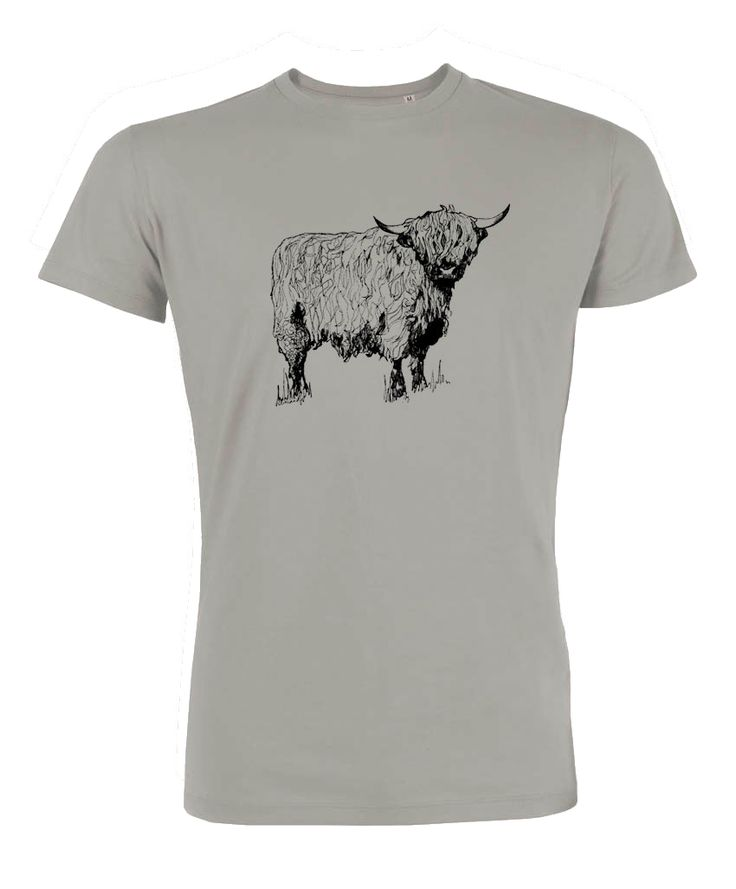 Highland Coo Tee Shirt. Printed T Shirts from Scottish Illustrator Gillian Kyle. Mens T Shirts Online and unusual gifts for guys. Scottish Gifts for Dad