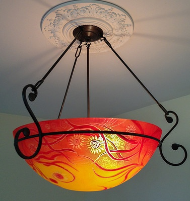 Large Chandelier Reverse Painted Glass Art w Hand Forged Ironwork Wrought Iron   eBay