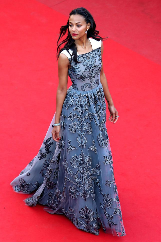 Zoe Saldana in Valentino at the Cannes International Film Festival, May 2013.