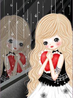 szomorú lány látni az eső az ablakon keresztül