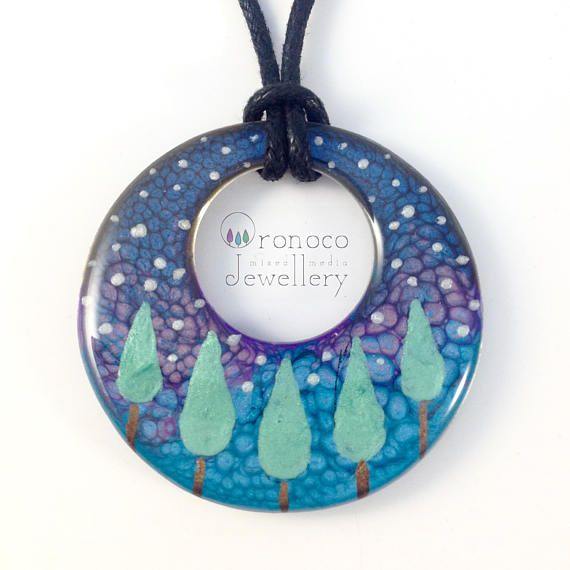 Fairy tale forest necklace northern lights necklace woodland