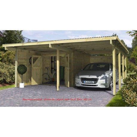 carport plus 2 karibu abri voiture 527x576cm local de rangement 204x360cm avec 2 parois porte. Black Bedroom Furniture Sets. Home Design Ideas