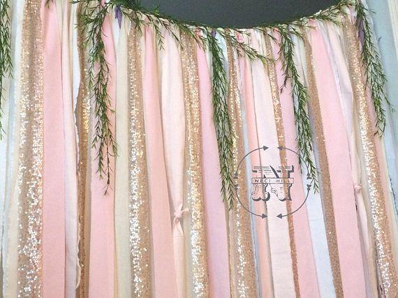 Erröten Hintergrund Gold Pailletten Rag Vorhang Stoff Lace