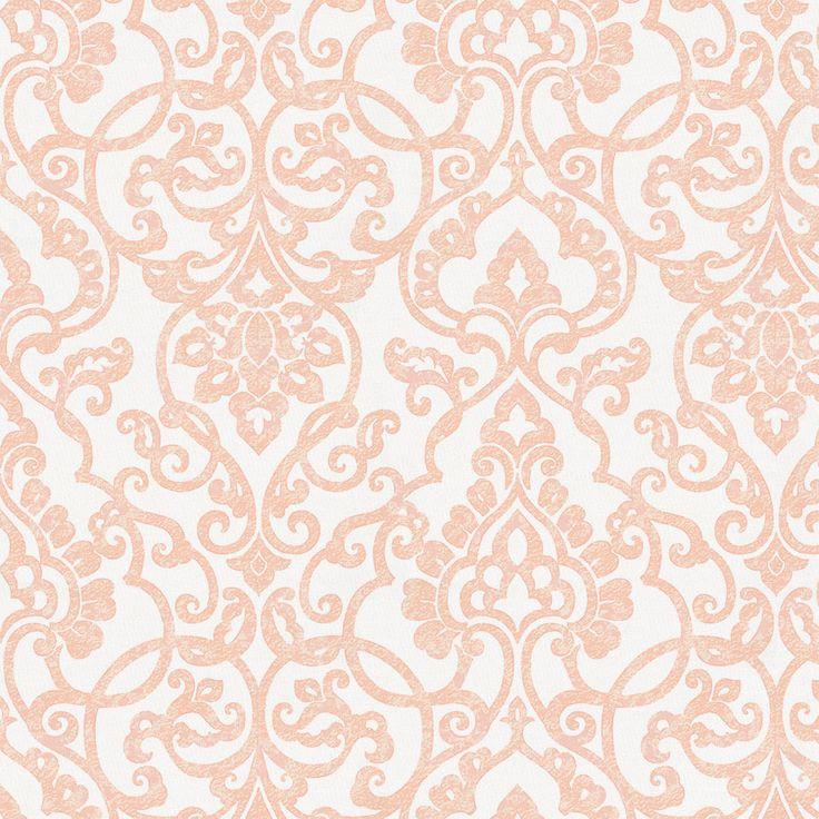 Peach Filigree Fabric by Carousel Designs.