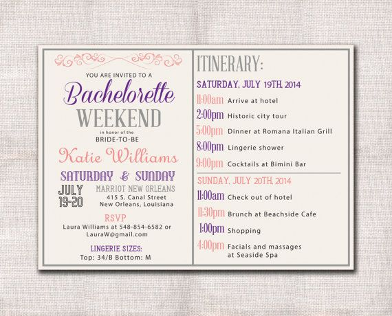 85 best bridal shower images on pinterest bridal showers bridal bachelorette party weekend invitation itinerary pronofoot35fo Image collections