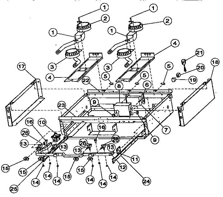 BURNER BOX SUB-ASSEMBLY Diagram & Parts List for Model