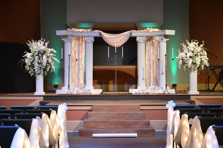#Church #Wedding. #Stage with #columns, #drapery, encased ...