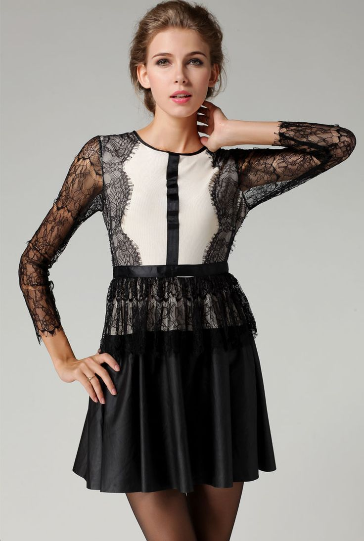 Black Long Sleeve Lace Hollow PU Leather Dress $45.73