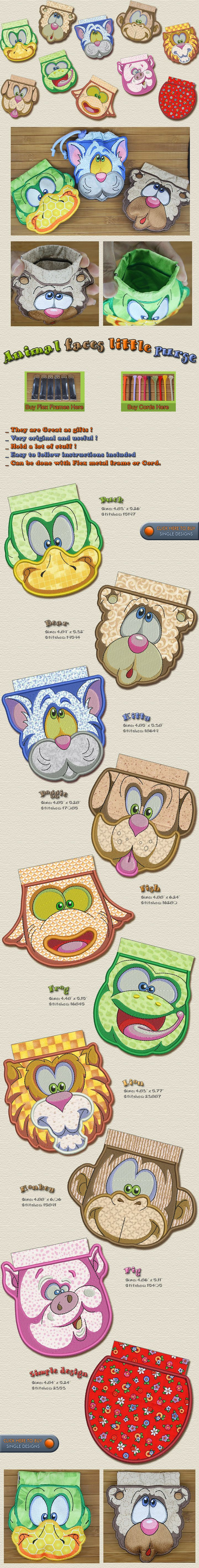 ANIMAL FACES LITTLE PURSES Embroidery Designs Free Embroidery Design Patterns Applique