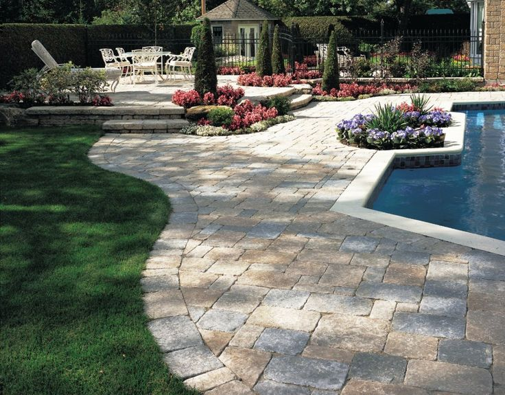 outdoor paving stone pool decks and patios patio