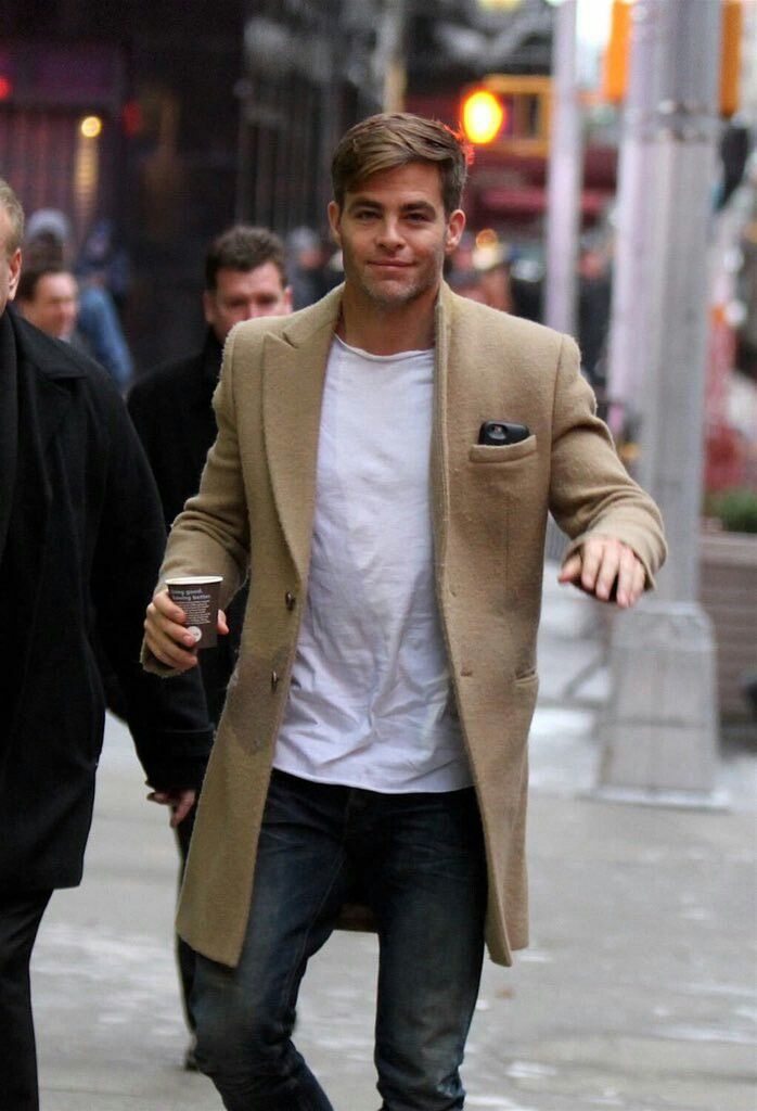 Chris Pine camel coat