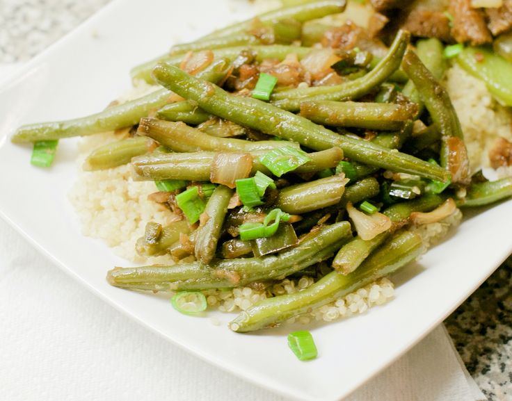Asian inspired Green Beans with Soy, Ginger, Garlic, Onions, and Chili.