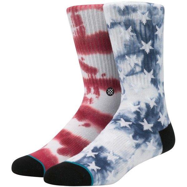 Stance Men Patriot 2 Tie Dye Cotton Blend Socks ($18) ❤ liked on Polyvore featuring men's fashion, men's clothing, men's socks, blue, mens seamless socks, mens blue socks, mens tie dye socks, mens socks and stance mens socks
