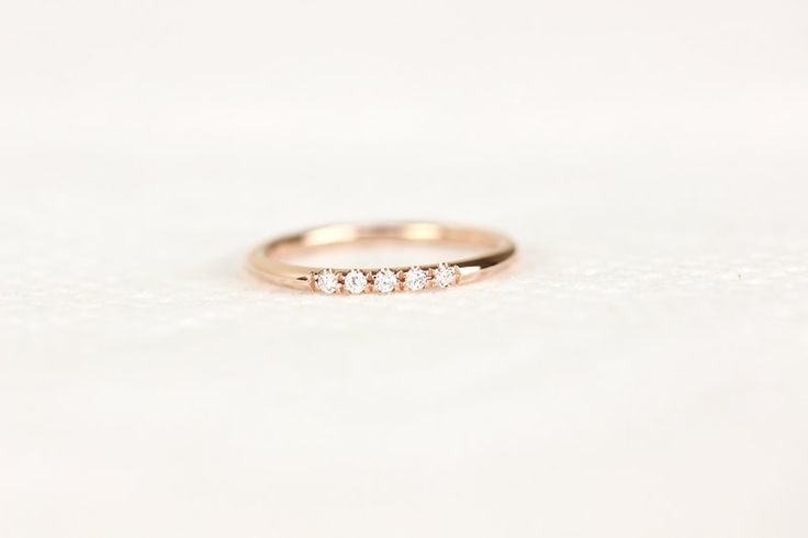 14k Rose Solid Gold Diamond Wedding Band In Micro Pave