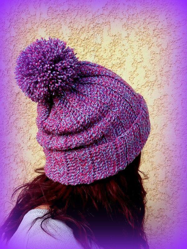 Bonnet Pompon chiné mauve bleu ciel fuchsia tricoté main au crochet Fait main made in France Unique : Chapeau, bonnet par c-comme-celine