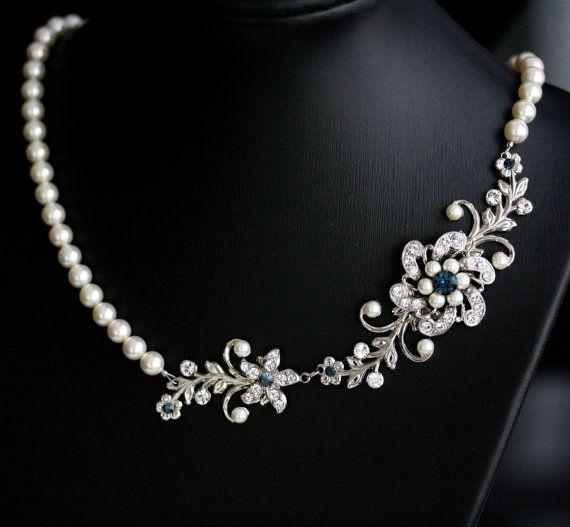 Indiangoldesigns Com Beautiful Antique Bridal Necklace: Pearl Bridal Necklace Rhinestone Flower Vintage Wedding