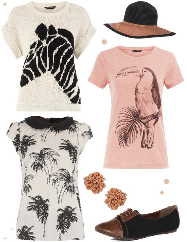 zebra sweater, toucan t-shirt, floppy summer hat, palm tree blouse, pink bead earrings, Dorothy Perkins