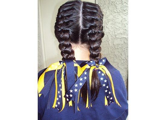 softball hair.. french braids & team ribbons