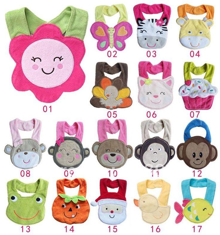 hot seller by dhl/ fedex/ ups baby girls/boys cotton bibs animal design waterproof bibs